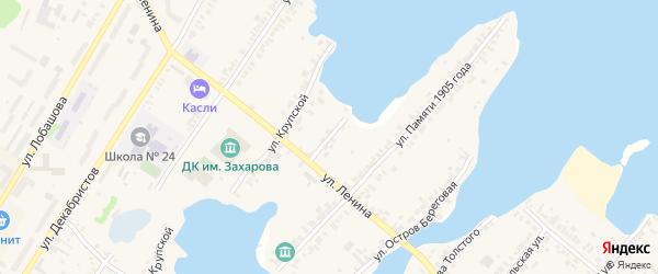 Крупской переулок на карте Касли с номерами домов