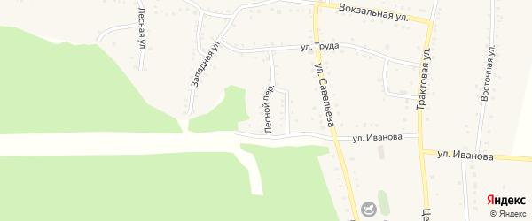 Лесной переулок на карте поселка Бишкиля Челябинской области с номерами домов
