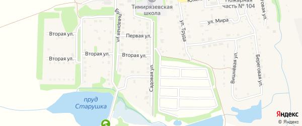 Садовая улица на карте Тимирязевского поселка Челябинской области с номерами домов