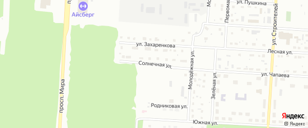 Солнечная улица на карте Снежинска с номерами домов