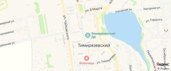 Шоссейная улица на карте Тимирязевского поселка Челябинской области с номерами домов