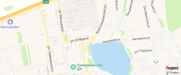 Улица 8 Марта на карте Тимирязевского поселка Челябинской области с номерами домов