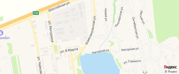 Комсомольская улица на карте Тимирязевского поселка Челябинской области с номерами домов