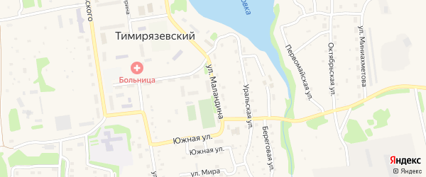 Улица Маландина на карте Тимирязевского поселка Челябинской области с номерами домов