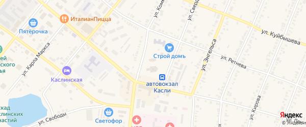 Территория ГСК Лес на карте Касли с номерами домов