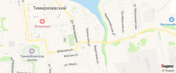 Уральская улица на карте Тимирязевского поселка Челябинской области с номерами домов