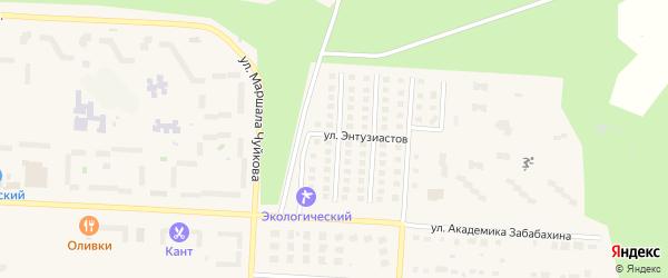 Институтская улица на карте Снежинска с номерами домов