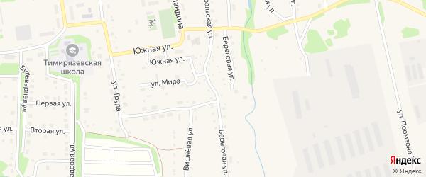Береговая улица на карте Тимирязевского поселка Челябинской области с номерами домов