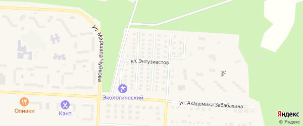 Академическая улица на карте Снежинска с номерами домов