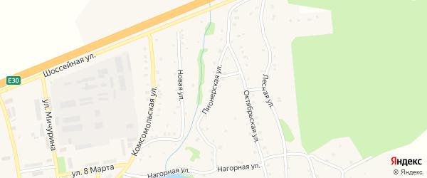 Пионерская улица на карте Тимирязевского поселка Челябинской области с номерами домов