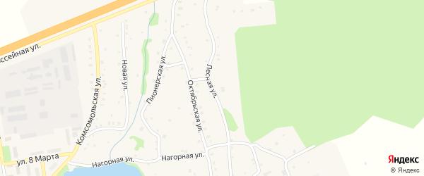 Лесная улица на карте Тимирязевского поселка Челябинской области с номерами домов