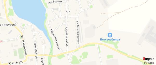 Улица Миниахметова на карте Тимирязевского поселка Челябинской области с номерами домов