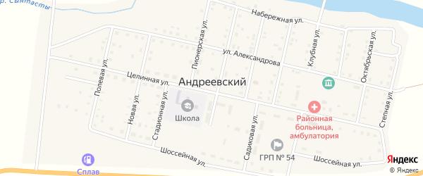 Западная улица на карте Андреевского поселка с номерами домов