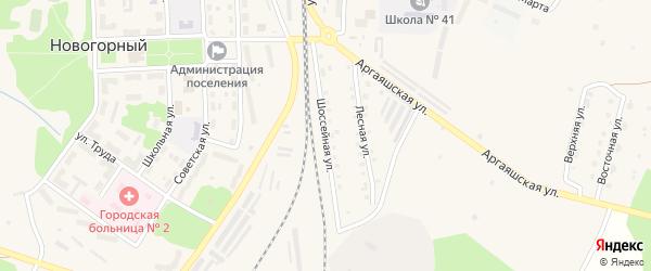 Шоссейная улица на карте Новогорного поселка с номерами домов