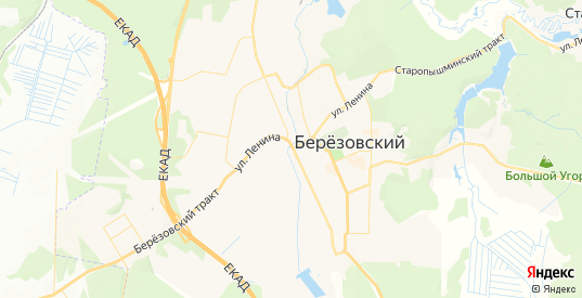 Карта Березовского с улицами и домами подробная. Показать со спутника номера домов онлайн