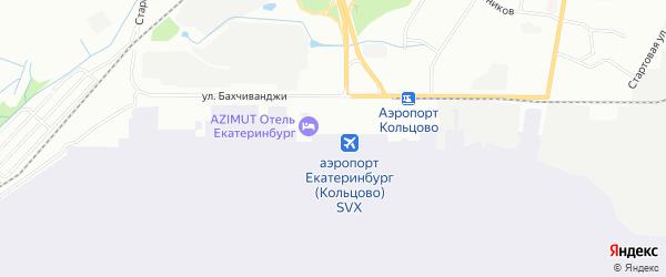 Карта автодороги Екатеринбурга-Аэропорта Кольцово города Екатеринбурга в Свердловской области с улицами и номерами домов