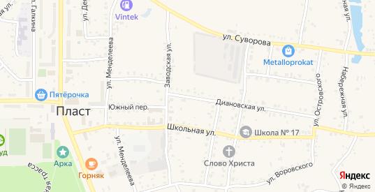 Диановская улица в Пласте с номерами домов на карте. Спутник и схема онлайн