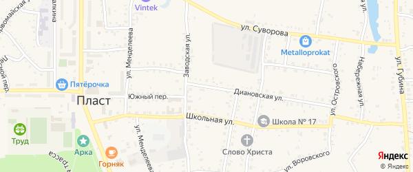 Диановская улица на карте Пласта с номерами домов