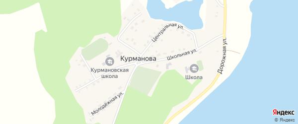 Школьная улица на карте деревни Курманова с номерами домов
