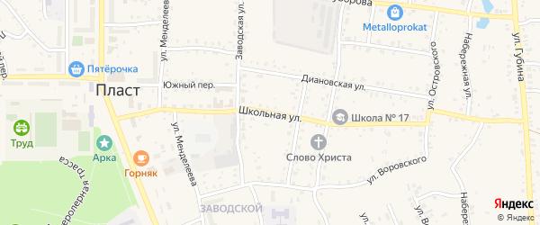 Школьная улица на карте Пласта с номерами домов