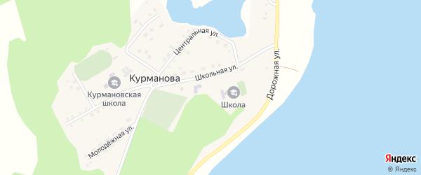 Изумрудная улица на карте деревни Курманова с номерами домов