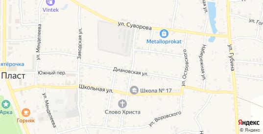 Улица Воровского в Пласте с номерами домов на карте. Спутник и схема онлайн