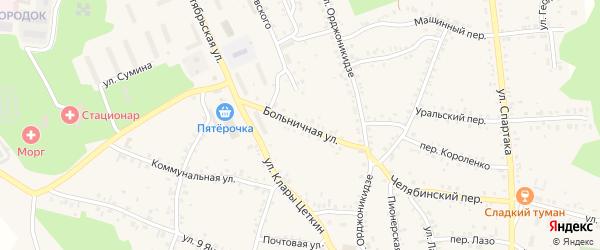 Больничная улица на карте Пласта с номерами домов