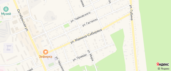 Улица Мамина-Сибиряка на карте Пласта с номерами домов