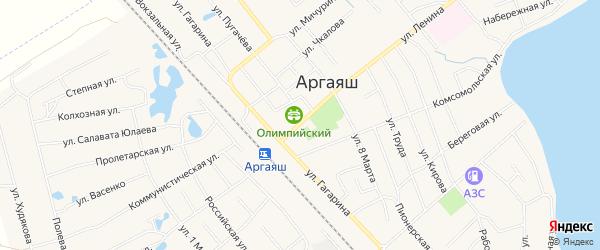 Карта села Аргаяша в Челябинской области с улицами и номерами домов