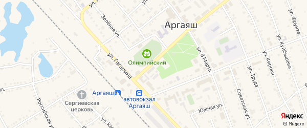 Улица Механизаторов на карте села Аргаяша с номерами домов