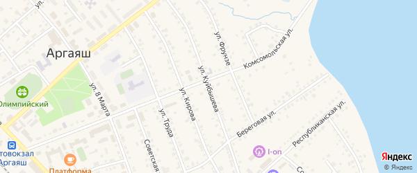Улица Куйбышева на карте села Аргаяша Челябинской области с номерами домов