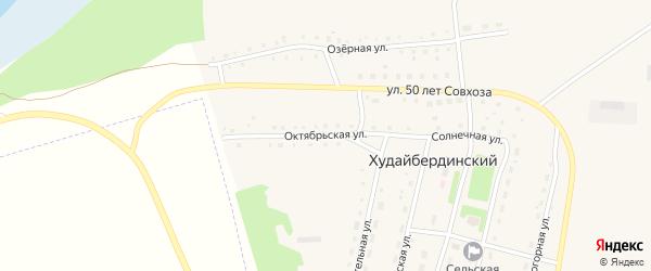 Октябрьская улица на карте Худайбердинского поселка Челябинской области с номерами домов
