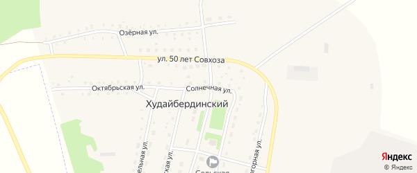 Солнечная улица на карте Худайбердинского поселка Челябинской области с номерами домов
