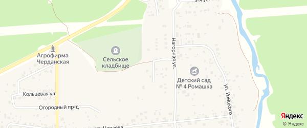Улица Лермонтова на карте села Черданцево Свердловской области с номерами домов