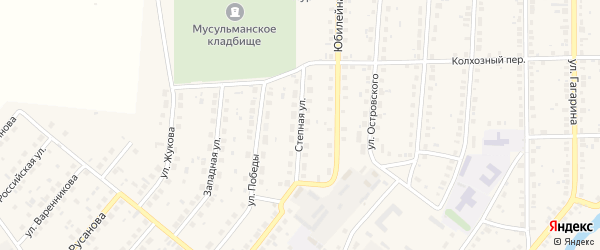 Степная улица на карте села Варны Челябинской области с номерами домов