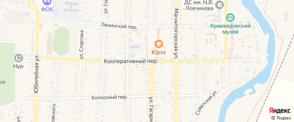Кооперативный переулок на карте села Варны с номерами домов