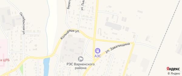 Кольцевая улица на карте села Варны с номерами домов