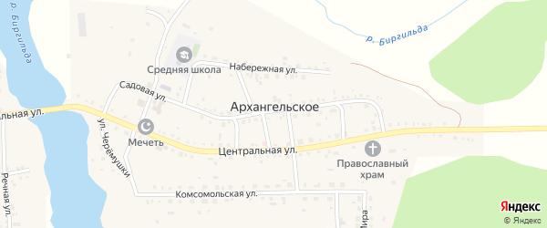 Речная улица на карте Архангельского села Челябинской области с номерами домов