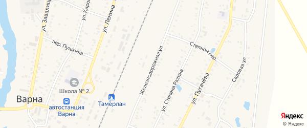 Железнодорожная улица на карте села Варны с номерами домов
