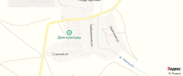Набережная улица на карте Подгорного поселка Челябинской области с номерами домов