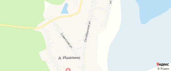 Октябрьская улица на карте поселка Ишалино с номерами домов