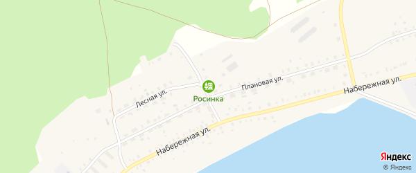 Зеленая улица на карте деревни Дербишева Челябинской области с номерами домов