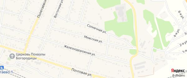 Миасская улица на карте поселка Полетаево Челябинской области с номерами домов
