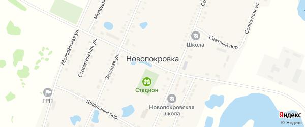 Шоссейный переулок на карте поселка Новопокровки Челябинской области с номерами домов
