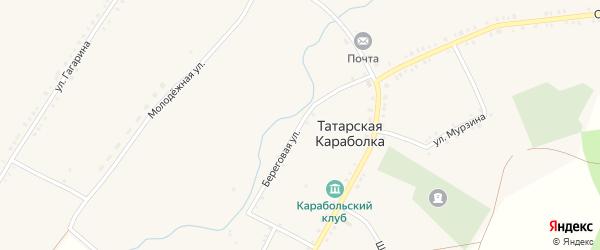 Береговая улица на карте села Татарской Караболки с номерами домов