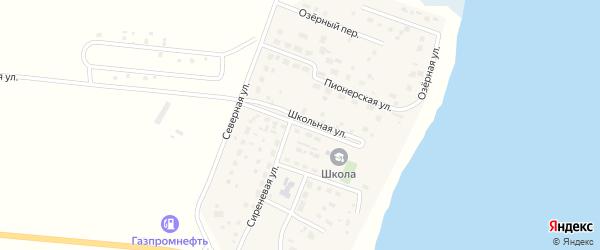 Школьная улица на карте деревни Касарги Челябинской области с номерами домов