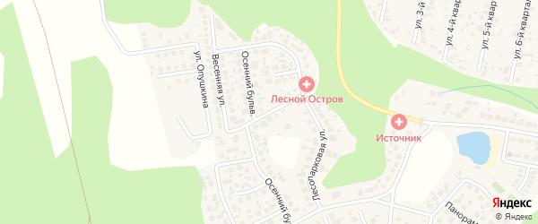 Улица Весенняя (мкр Лесной остров) на карте деревни Малиновки Челябинской области с номерами домов