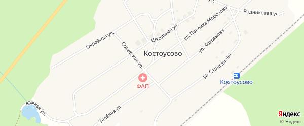 Улица П.Морозова на карте поселка Костоусово Свердловской области с номерами домов