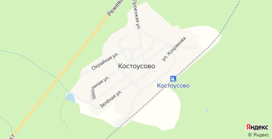 Карта поселка Костоусово в Свердловской области с улицами, домами и почтовыми отделениями со спутника онлайн