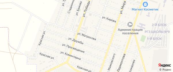 Улица Матросова на карте Красногорского поселка Челябинской области с номерами домов